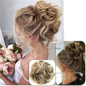real natural curly messy bun hair piece scrunchie new fake