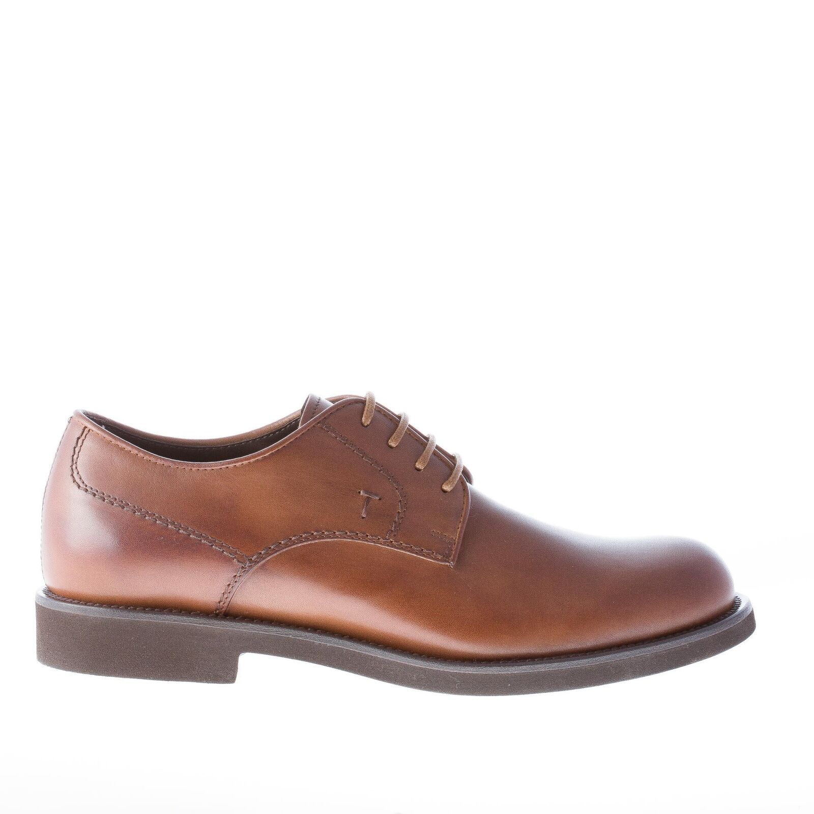 TOD'S scarpe uomo Uomo shoes derby in pelle cammello scuro con punta tonda