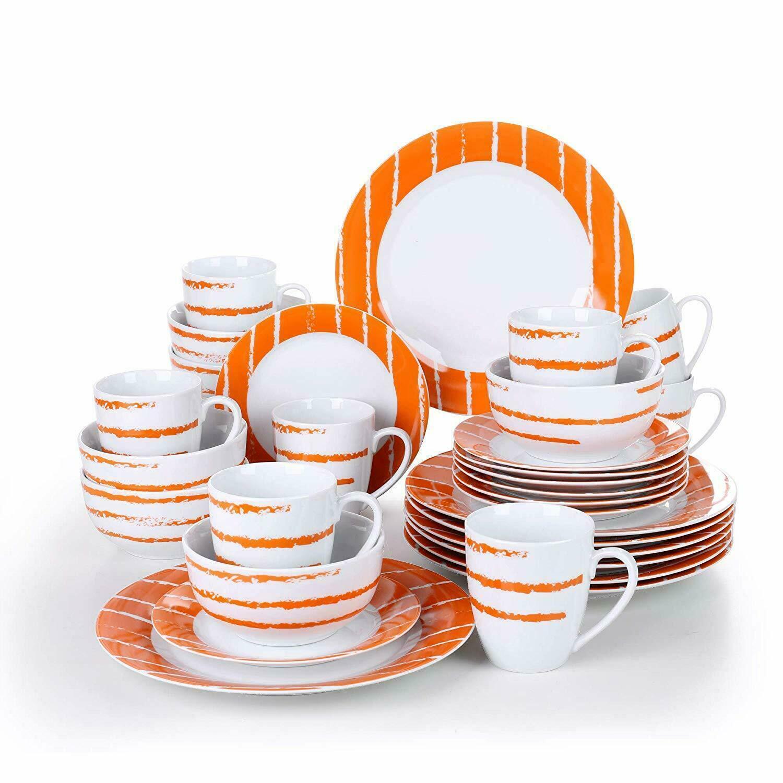 SERVICE 32 couverts complet porcelaine vaisselle salle à manger assiettes bols tasses pour 8