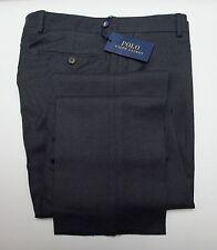 NEW Polo Ralph Lauren Slim Fit Dark Gray Flat Front Wool Trouser Dress Pants 36