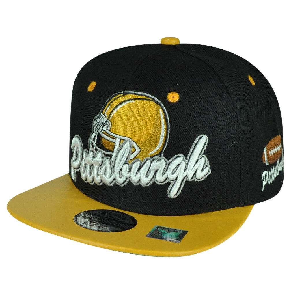 Schwarz Eagles Pittsburgh Pennsylvania Fußball Snapback Gelb Flach Hut Kappe