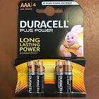 AAA Duracell PLUS POWER Alkaline Battery MN2400 LR03 - Pack of 4 Batteries