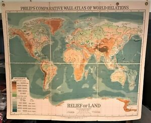image is loading original 1921 philips 039 comparative wall atlas map