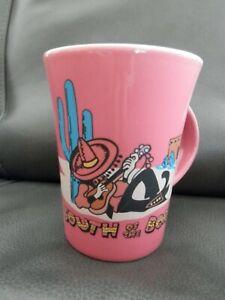 Vintage-South-Of-The-Border-Coffee-Mug-Cup-Pink-Travel-Souvenir