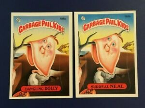 1986-Topps-196a-DANGLING-DOLLY-196b-SURREAL-NEAL-Lot-2-Garbage-Pail-Kids-GPK