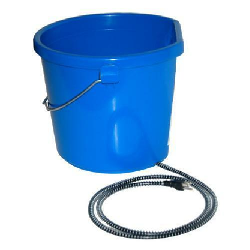 *HEATED* BLUE 5 GALLON (20 QT) PROFESSIONAL FLAT BACK BUCKET PAIL HORSE CATTLE