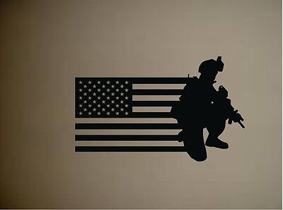 Military Soldier Army Men with US Flag Old Glory Vinyl Wall Decal Sticker 20x32
