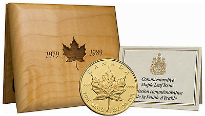 Silver Maple Leaf in Wooden Box w//CoA No Tax 1989 Canada Proof 1oz