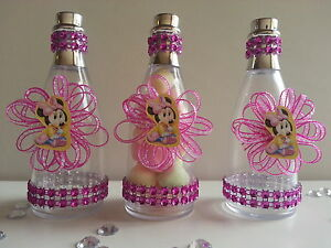 Image Is Loading 12 Minnie Mouse Fillable Champagne Bottles Baby Shower