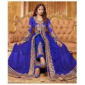 Anarkali Royal Blue Bollywood Dress Indian Designer Ethnic Suit