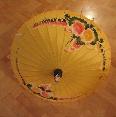 Vintage Non Usato Dipinti A Mano Floreale Parasole Thailandia Costume Di Scena Matrimonio-mostra Il Titolo Originale Rinfrescante E Benefico Per Gli Occhi