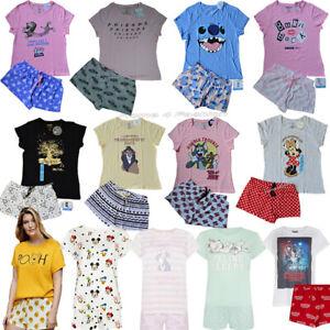 Senoras Disney 2 Pieza Pijamas Para Mujer Pijama Pantalones Cortos Ninas Camiseta Pj Primark Ebay