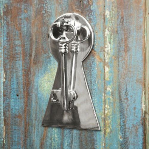Bright Chrome Key Design Door Knocker Doorknocker with Back Plate