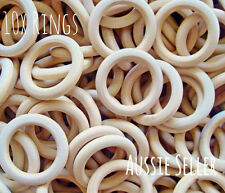 30x natural 50mm unfinished wood round rings jewellery teeth baby nursing wooden