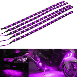 Lot5-Purple-15-LED-30CM-Car-Grill-Flexible-Waterproof-Light-Strip-SMD-12V-Sales