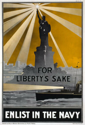 2W2 Vintage WWI For Liberty/'s Sake Enlist In The Navy War Poster WW1 A1 A2 A3