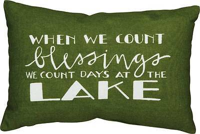 """Count Blessings at the Lake Decorative Pillow 15"""" x 10"""" Thanksgiving Decor Cabin"""