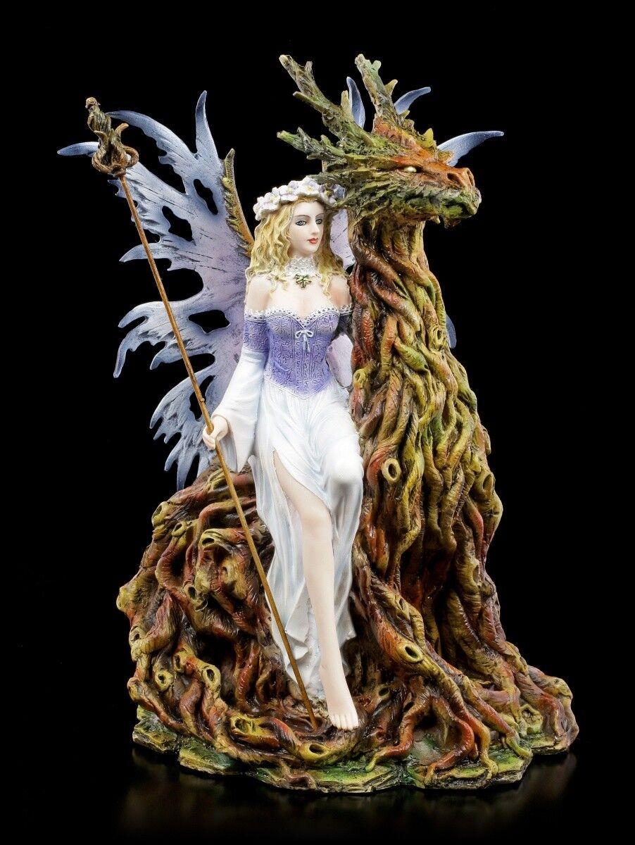 Figura Elfos - Tamesis con Walddrache - Fantasy Hada Drachenelfe Dekostatue