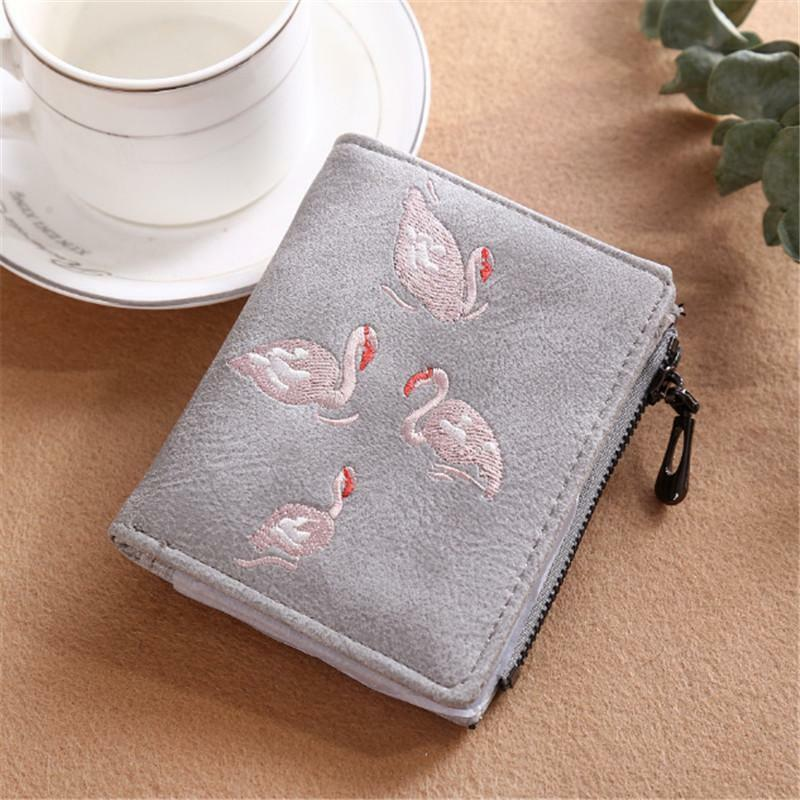 Ladies Swan Embroidered Zip Coin Purse Womens Wallet Card Holder New C