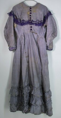 Antique 1860's Cotton Purple and White Checkered D