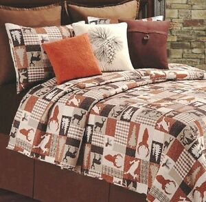 Image Is Loading HUNTER LODGE Full Queen QUILT SET BROWN PLAID