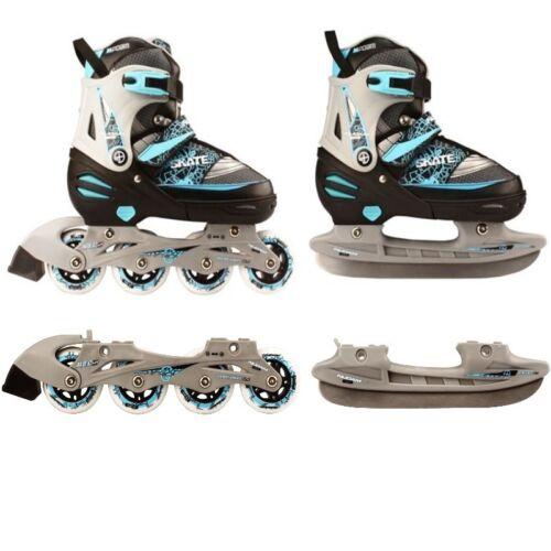 blau Kinder Inliner und Schlittschuhe 2 in 1 Größe verstellbar 27-30 Skater Inlineskating