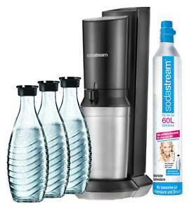sodastream wassersprudler crystal 2 0 co2 zylinder 3 x glaskaraffe mega neu ebay. Black Bedroom Furniture Sets. Home Design Ideas