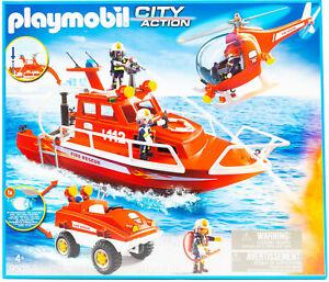 Playmobil 9503 City Action Feuerwehr Boot Hubschrauber Fahrzeug Mega Set NEU OVP