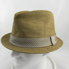 Vintage Free Authority Woven Paper Straw Fedora Hat Mens L/XL Hipster