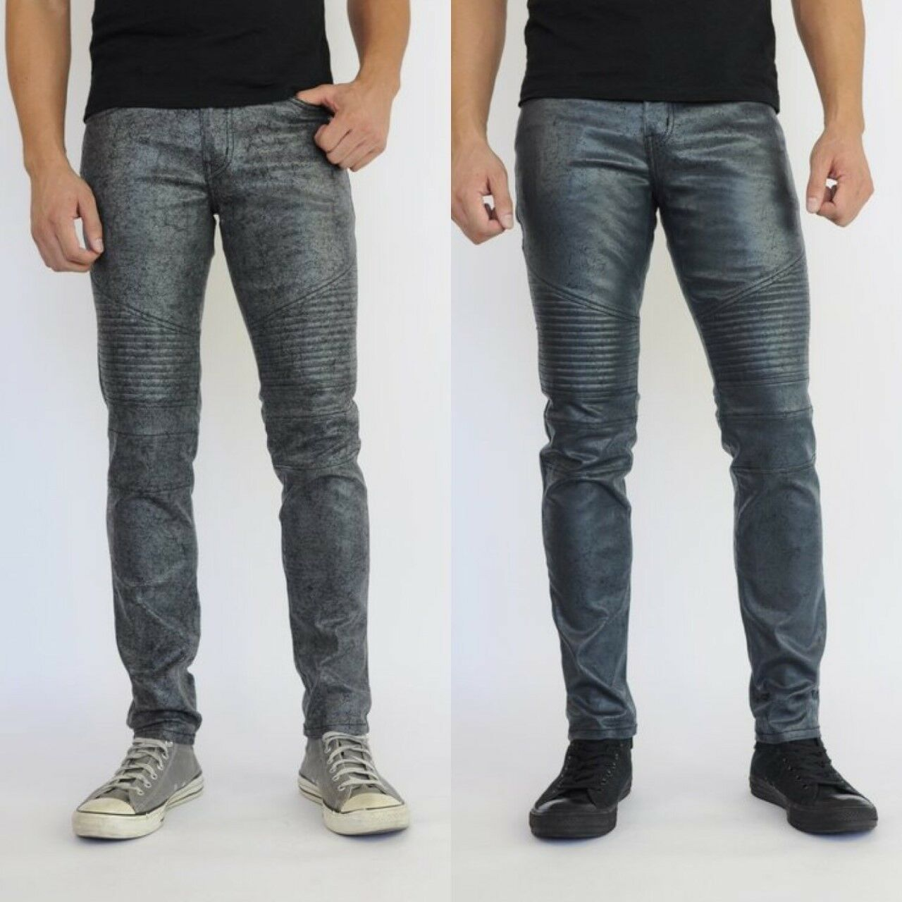 Mens Fashion Moto by Neo bluee Rustic Metal Jeans Made in USA