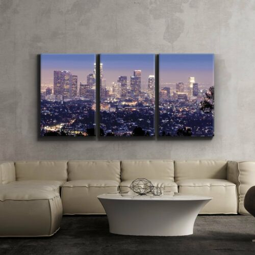 """Wall26 3 Piece Canvas Print 16/""""x24/""""x3 Panels Los Angeles Skyline in Evening"""
