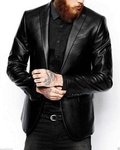 Mens Genuine Soft Lambskin Leather Blazer Casual Slim fit Black Sport Coat Men