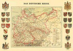 Deutsches Reich Karte.Details Zu Das Deutsche Reich Karte Von 1872 20 Wappen Faksimile 16 A2 Auf Büttenpapier