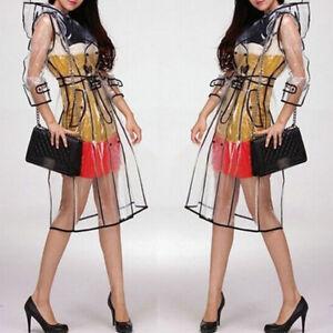 Transparent-Veste-de-Pluie-Defile-Style-Femmes-Filles-Mode-Neuf