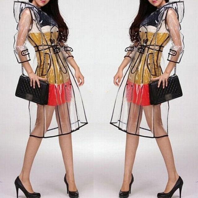 Transparent Veste de Pluie Défilé Style Femmes Filles Mode Neuf