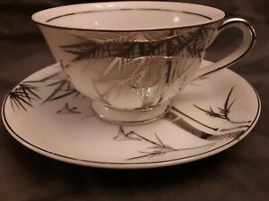 Vintage-Kutani-China-Hand-Painted-Cup-and-Saucer-Set-s-Platinum-LOVELY-MINT