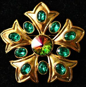 Fleur-de-Lis-petals-flower-gold-tone-Green-rhinestones-made-in-USA-BROOCH
