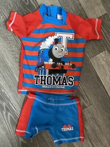 Baby-Boy-Uv-Sun-Set-Swim-Set-Age-9-12-Months-Red-amp-Blue-Thomas-The-Tank