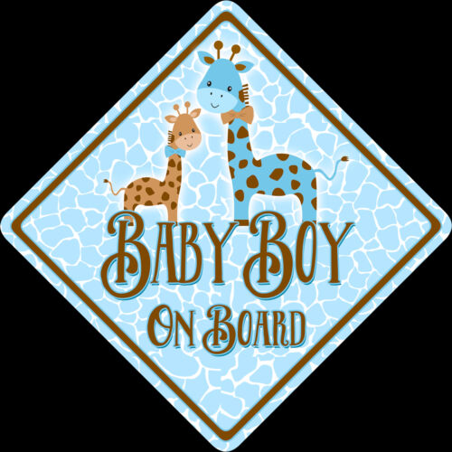 Boutique Cute Non Personalised Baby Boy On Board Car Sign Shabby Chic Giraffes