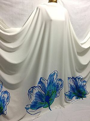 *NEW*Ivory White 100% polyester Large Floral Border Print Dress/Crafts Fabric