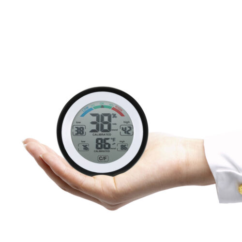 Round Digital Thermometer Hygrometer Humidity Meter °C //° F Touch Screen O8Q3
