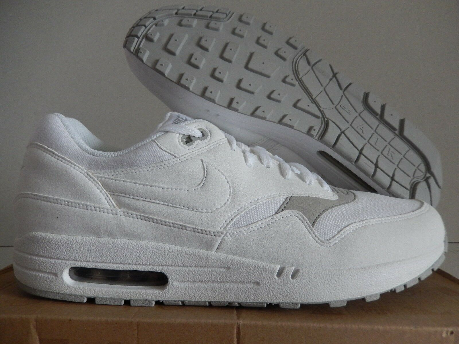 NIKE AIR MAX 1 WHITE-WHITE-GRANITE SZ 12 [308866-107]