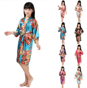 Kid Silk Satin Robe Kimono Wedding Party Floral Robe Sleepwear Gown Night Dress