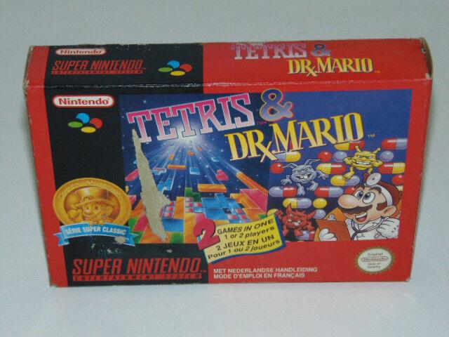 Tetris & Dr Mario Super Nintendo Snes / Pal. FAH. / Jeu en Boite Sans Notice!