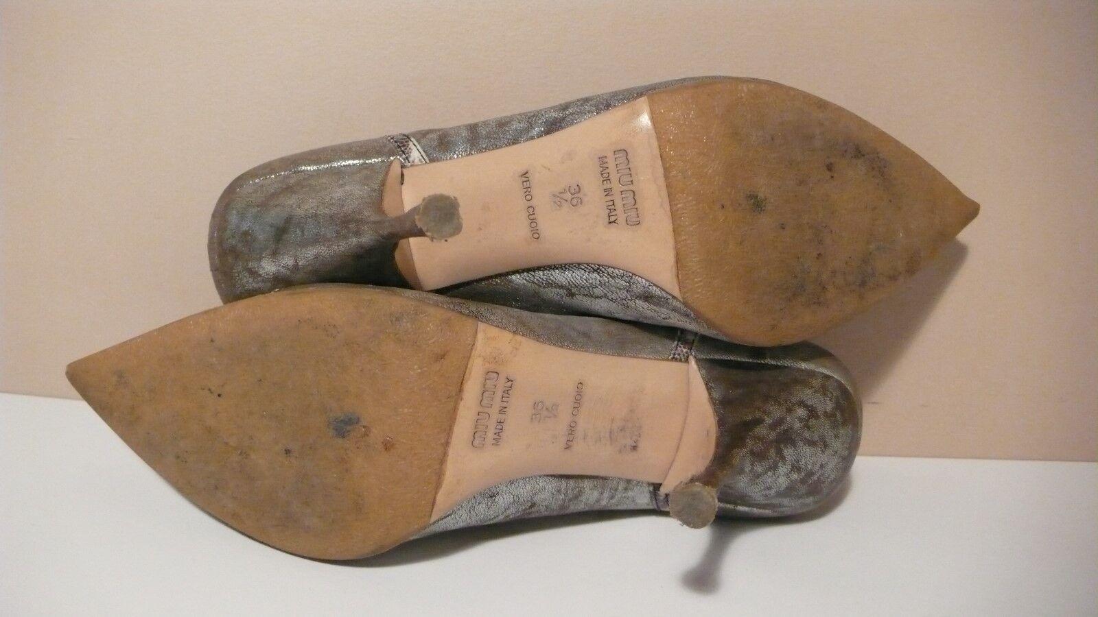 MIU MIU Women's Pointy Toe Distressed Leather Leather Leather Heels Pumps Sz 36.5  3e4895