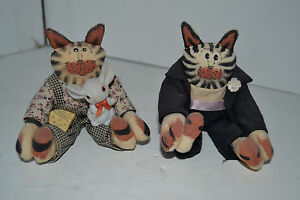 Vintage Handmade Stuffed Striped Jointed Cat Sitting Lot of 2