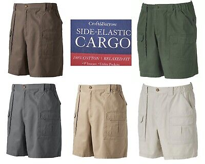 """Men/'s Croft/&Barrow 9/"""" Inseam Side Elastic CARGO shorts B/&T 46,48,50,52 NWT"""