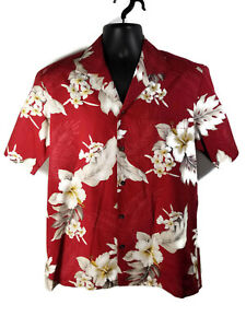Pacific-Legend-Mens-Cotton-Hawaiian-Shirt-Size-M-Red-White-Floral-Made-in-USA