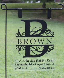 Details about FAMILY LAST NAME FANCY LETTER BIBLE VERSE PERSONALIZED GARDEN  FLAG SIGN HOMEMADE
