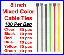 "100 Pieces 8"" inch Asst Plastic Nylon CABLE TIES Wire Cord Wrap Network Zip Tie"